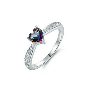 Topaz and silvertone heart ring